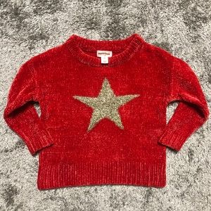 Cat & Jack 2T soft fuzzy red star crewneck sweater